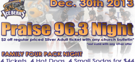 Praise 96.3 Night at the Ice Bears – Dec. 30th