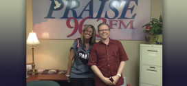 Laura West and Gerald Wolfe at Praise 96.3 Studios.